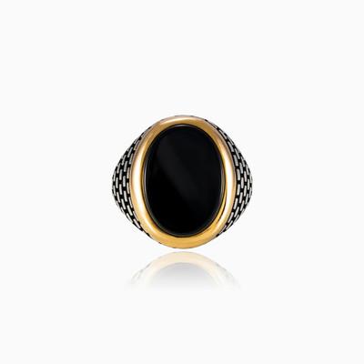 Серебряное кольцо с ониксом BRICK Мужские Кольца Detallado