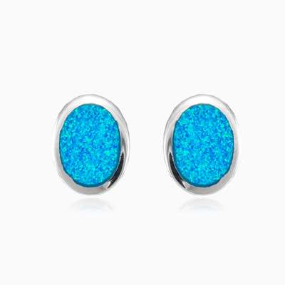Button oval opal earrings woman Earrings Colorino