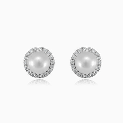 Halo silver pearl earrings woman earrings
