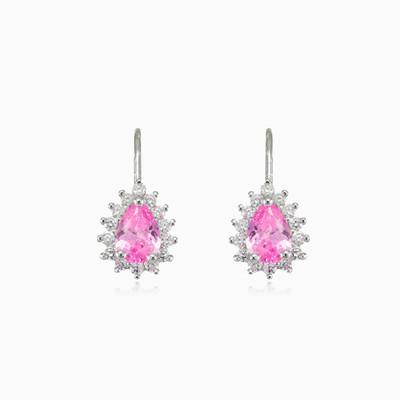 Pear rose quartz earrings woman Earrings Halo