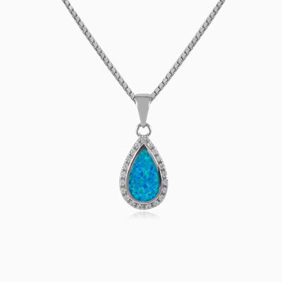 Blue opal drop pendant woman Pendants