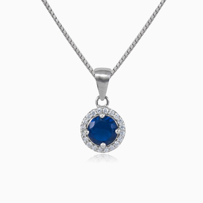 Round blue quartz pendant woman pendants MC Silver