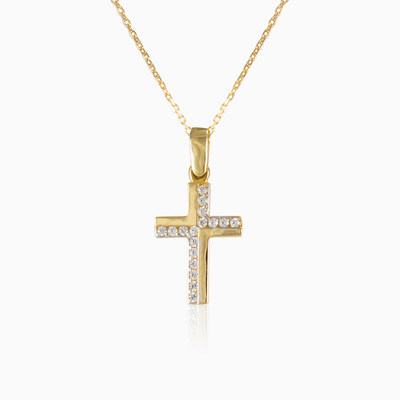 Crystal and gold cross woman pendants