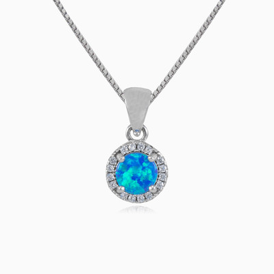 Round royal blue opal pendant woman pendants