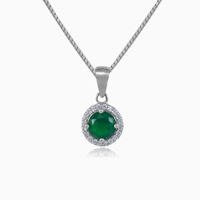 Round green quartz pendant woman pendants