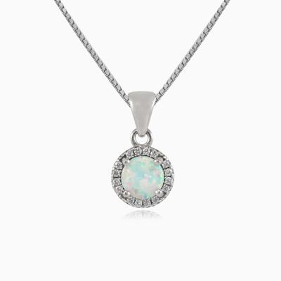 Round white opal pendant woman Pendants Halo
