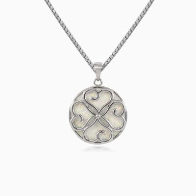 Clover white opal pendant woman Pendants Simbólico