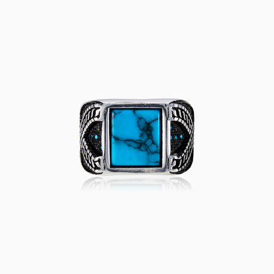 Square turquoise ring man rings NT