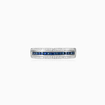 Sapphire and diamonds band unisex Wedding rings Lustrous