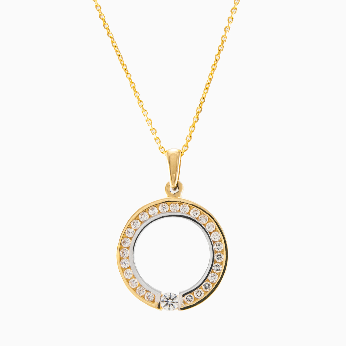 Modern circle pendant combination of yellow and white 14 kt gold circle gold pendant mujer colgantes mc gold n1 aloadofball Choice Image