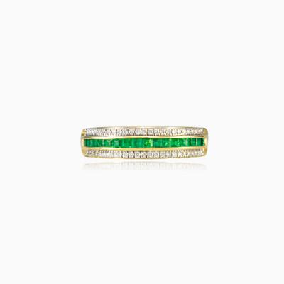 Золотое кольцо с изумрудом и бриллиантами unisex Обручальные кольца Lustrous
