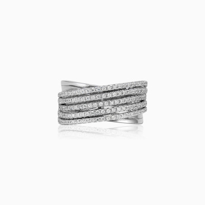 Five row silver ring woman rings