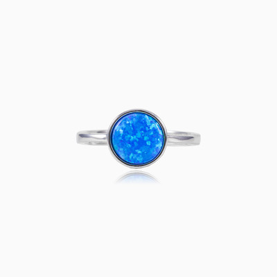Round blue opal ring woman rings