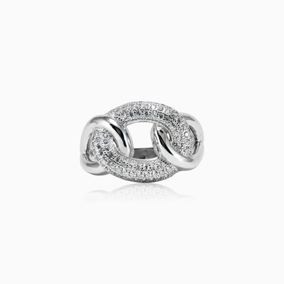 Chain twisted silver ring woman Rings Shine bright