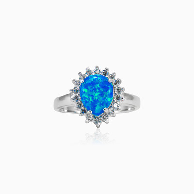 Pear blue Opal ring woman Rings Halo