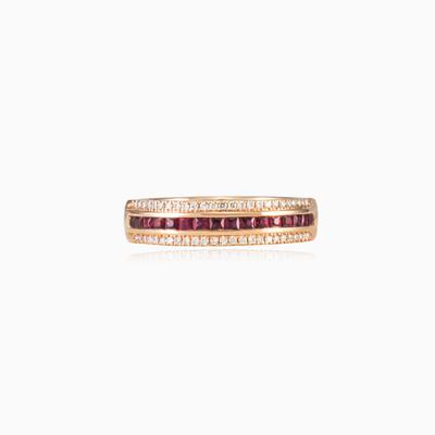 Золотое кольцо с рубином и бриллиантами unisex Обручальные кольца Lustrous