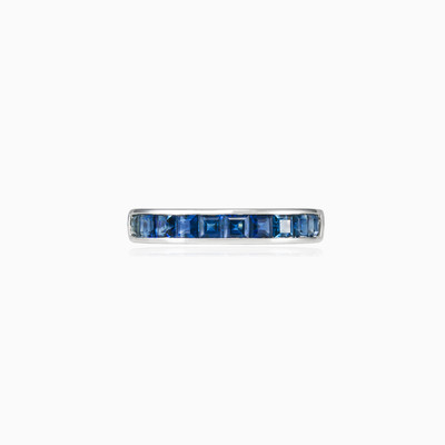 Blue sapphire band unisex Wedding rings Tinge