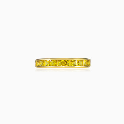Золотое кольцо с желтыми сапфиры unisex Обручальные кольца Tinge