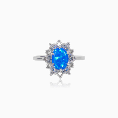 Star blue opal ring woman rings Halo