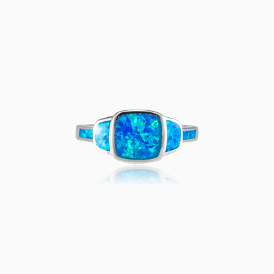 Square blue opal ring woman Rings