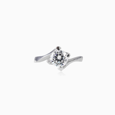 High silver solitaire woman engagement rings Shine bright
