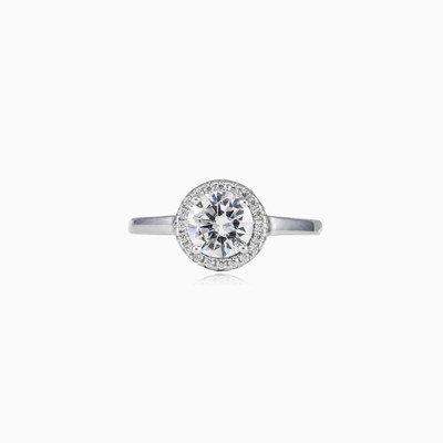 Round crystal halo ring woman engagement rings