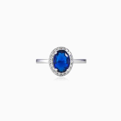 Soft blue quartz ring woman Rings Halo