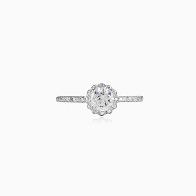 Royal round crystal ring woman engagement rings Halo