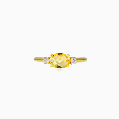 Citrine gold ring woman rings Tinge