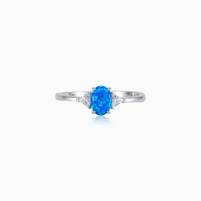 Thin blue opal ring woman rings MC Silver