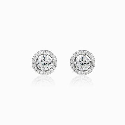 Серебряные серьги-гвоздики с кристаллами unisex Серьги Halo