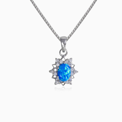 Star blue opal pendant woman pendants MC Silver