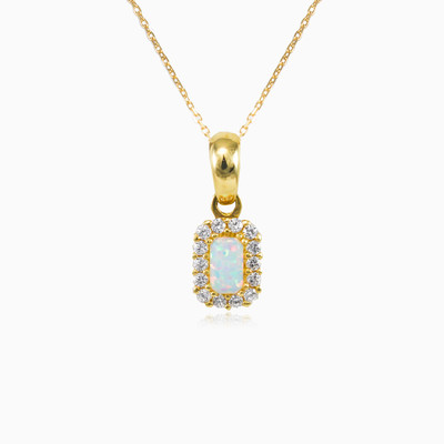 Rectangle opal halo pendant woman pendants Royal