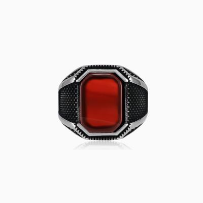 Серебряное кольцо с красным агатом Oxi Мужские Кольца Detallado