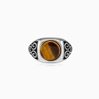Round tiger eye ring man Rings Palmyra