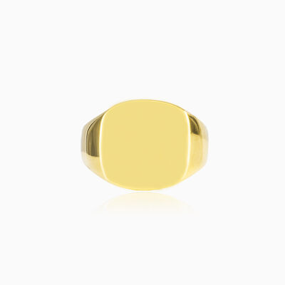 Gold high polished square ring unisex Rings High polished