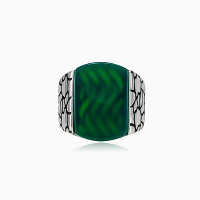 Нефритовое кольцо Stone  Мужские Кольца Detallado