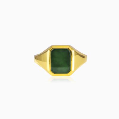 Gold jade ring unisex Rings Tinge