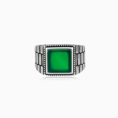 Rigid square jade ring unisex Rings oyster strap
