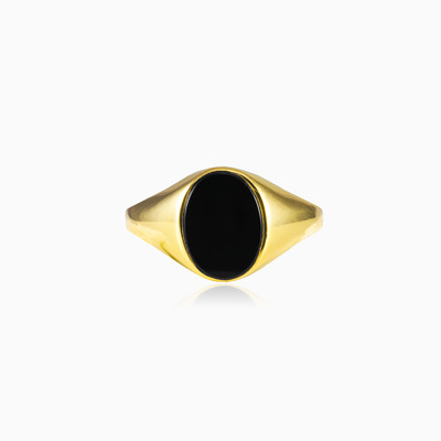 Gold oval onyx ring man rings High polished