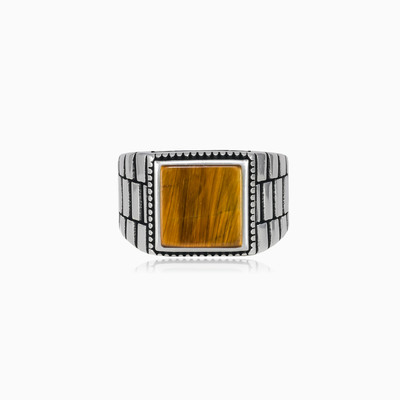 Rigid square tiger eye ring unisex Rings oyster strap