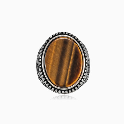Braided tiger eye ring man rings Detallado