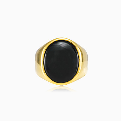Oval gold plated ring homme bagues