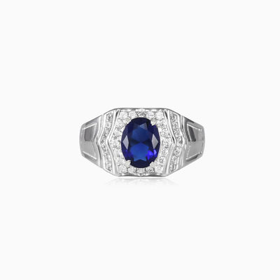 Oval blue quartz ring man Rings Colorino