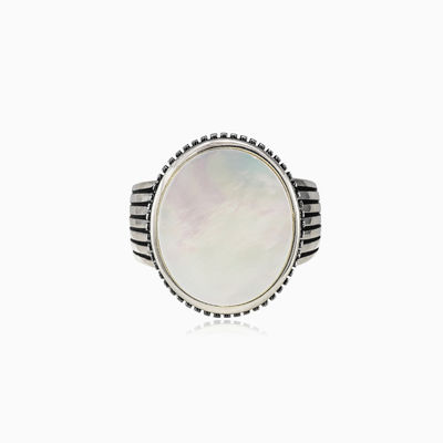 Oval nacre ring unisex rings