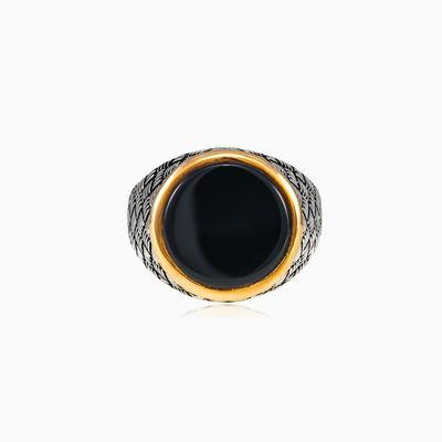 Runder geflochtener Onyxring unisex Ringe Detallado
