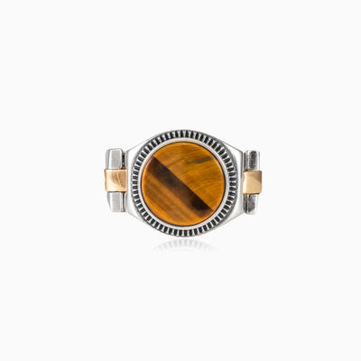 Tiger eye oyster strap ring unisex Rings oyster strap