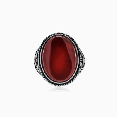 Threaded oval agate ring man Rings