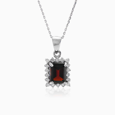 Square garnet pendant woman pendants MC Silver