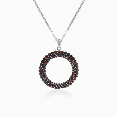 Open circle garnet pendant woman Pendants Colorino
